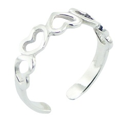 Inverted hearts band casted openwork polished sterling silver toe ring