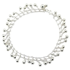 Sparkling silver linked chain anklet with tiny spheres