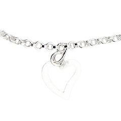 Silver anklet with heart and sphere charms 3