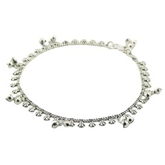 Silver curb chain anklet with danglers
