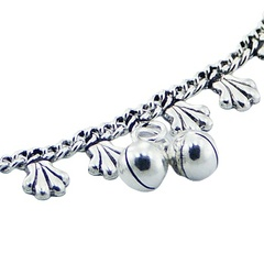 Silver curb chain anklet with danglers 2