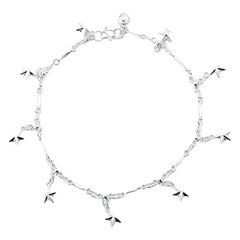 Silver flattened links chain anklet with blinking star charms