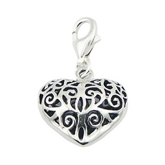 Ajoure vintage casted convexed heart shiny polished sterling silver charm