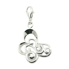 Stylized butterfly ajoure sterling silver charm