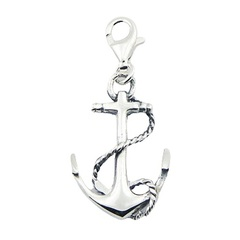 Nautic themed openwork twisted rope anchor polished sterling silver charm