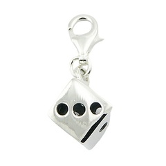 Casted openwork perfect little sterling silver dice charm