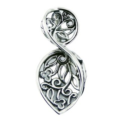 Classic and ajoure sterling silver pendant twirled leaf