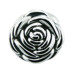 Rose flower silver pendant with polished petals and hidden bail