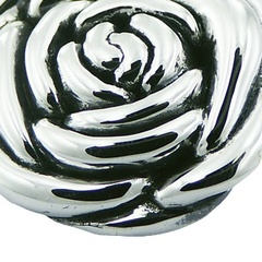 Rose flower silver pendant with polished petals and hidden bail 2