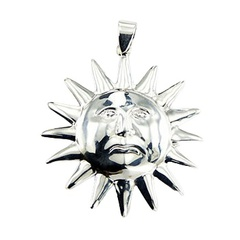 Highly polished sterling silver sun pendant with sun rays