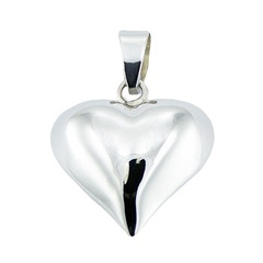 Convexed highly polished sterling silver heart pendant