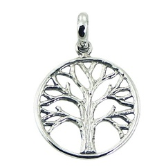 Ajoure rugged style sterling silver tree of life in round frame pendant