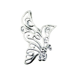 Fantasy butterfly with ajoure twirled wings sterling silver pendant