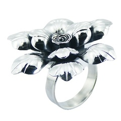 Luxury large floral themed rose flower polished sterling silver adjustable ring