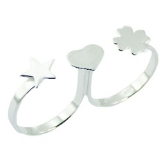 Star heart and clover stamped sterling silver double ring