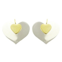 Cute sterling silver gold accents vermeil heart drop earrings