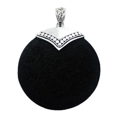 Contrast black volcanic lawa and sterling silver ajoure handmade pendant