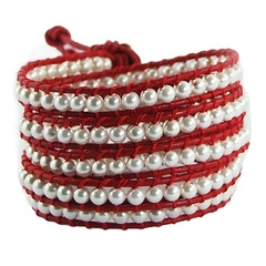Five rows wrap bracelet with imitation pearls on red leather