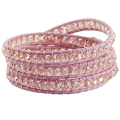 Triple row wrap bracelet with coppery glass beads on pink leather