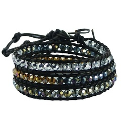 Triple row wrap bracelet with translucent glass beads on dark brown leather