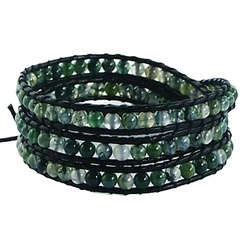 Triple row wrap bracelet with grass agate gemstones on dark green leather
