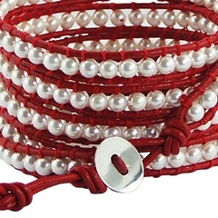Five rows wrap bracelet with imitation pearls on red leather 2