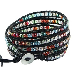 Five rows wrap bracelet with multicolored glass 3