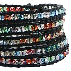 Five rows wrap bracelet with multicolored glass 2