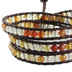 Triple row wrap bracelet with agate gemstones on leather 2