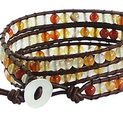 Triple row wrap bracelet with agate gemstones on leather 3