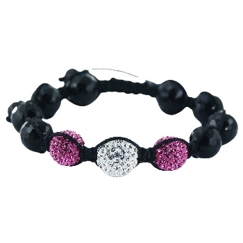 Shamballa bracelet black agate and Czech crystal balls