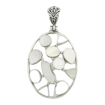 Mixed pearl silver hinged pendant