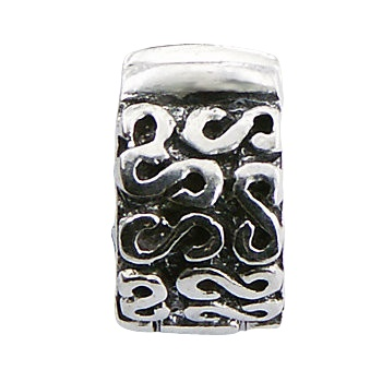 Antiqued ornate silver clip bead