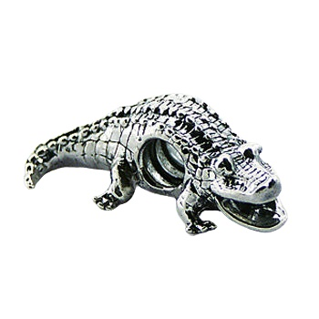 Crocodile detailed casted silver bead