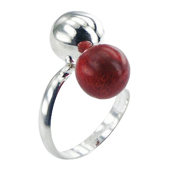 Red coral polished sphere silver ring