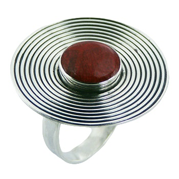 Antiqued red sponge coral large silver ring