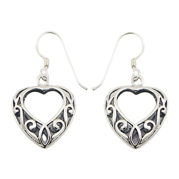 Vintage ajoure heart silver earrings