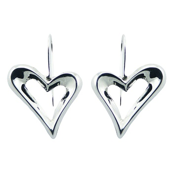 Modern silver hearts earrings