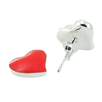 Enamel orange heart silver stud earrings