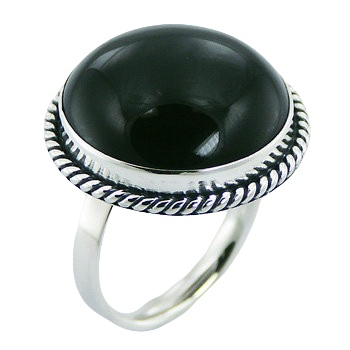 Convexed black agate sterling silver ring