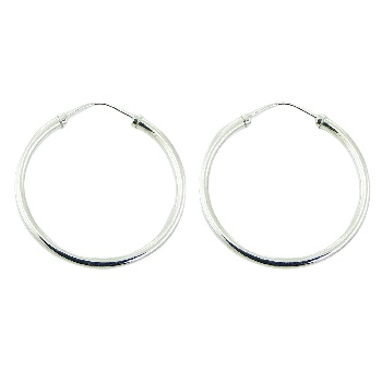 Endless wire silver 40 mm hoop earrings