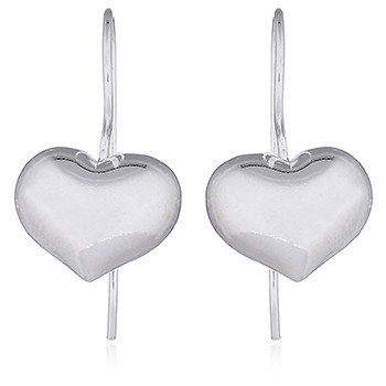 Sterling Silver Puffed Heart Earrings Adorable Shiny Drops