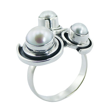 Unique triple freshwater pearls silver ring