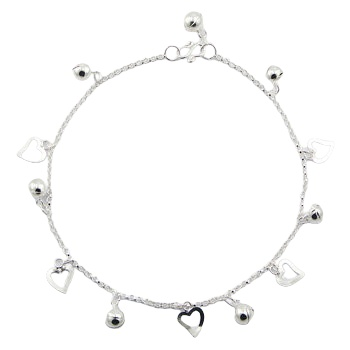 Silver anklet with heart and sphere charms