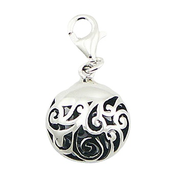 Ajoure puffed vintage silver charm
