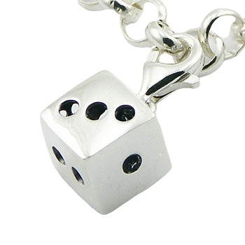 Casted sterling silver lucky dice charm