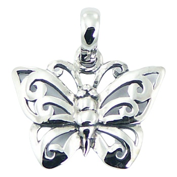 Ajoure 925 sterling silver butterfly pendant 3/4 inches