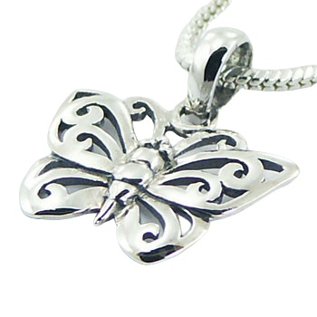 Ajoure 925 sterling silver butterfly pendant 3/4 inches 2