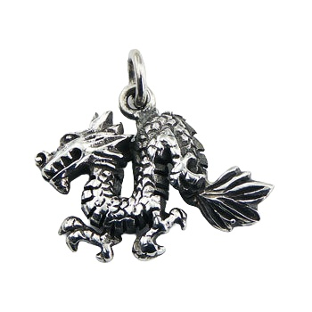 Antiqued sterling silver dragon pendant with a ring