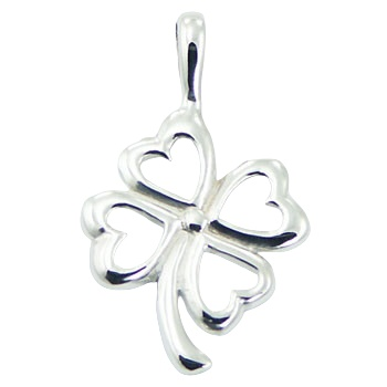 silver clover pendant with heart-shaped leaves